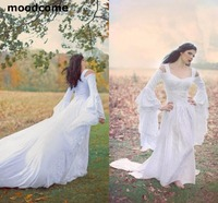Fantasy Fairy Medieval Lace Up Wedding Gowns Custom Off Shoulder Bell Long Sleeves A Line Court