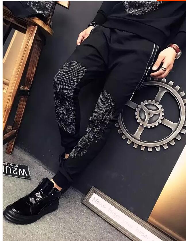 Spring Hot Drilling Skull Brand Men's Casual Pants Men's Dark Thin Feet Design