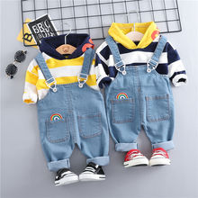 Children's Suit 2019 Baby Girls Boys Clothing Sets Hooded T Shirt Bib Pants Toddler Infant Clothes Suits Children Kids Costume