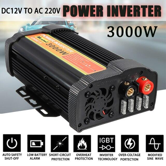 3000W 전원 인버터 12 V AC 220 볼트 LCD 디지털 최대 6000 와트 수정 사인파 자동차 충전 변환기 변압기 2 USB