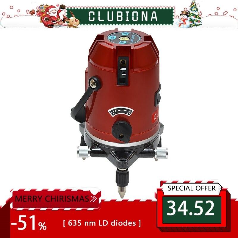 CLUBIONA 5 lijnen 6 punten 360 graden rotary LD 635nm outdoor modus-ontvanger en tilt slash beschikbaar auto lijn laser niveau