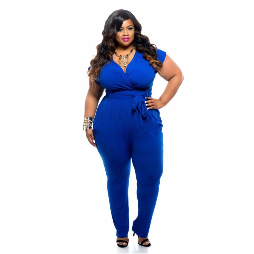 Fk1472 Women Plus Size Jumpsuits Short Sleeve Waist Sashes Rompers