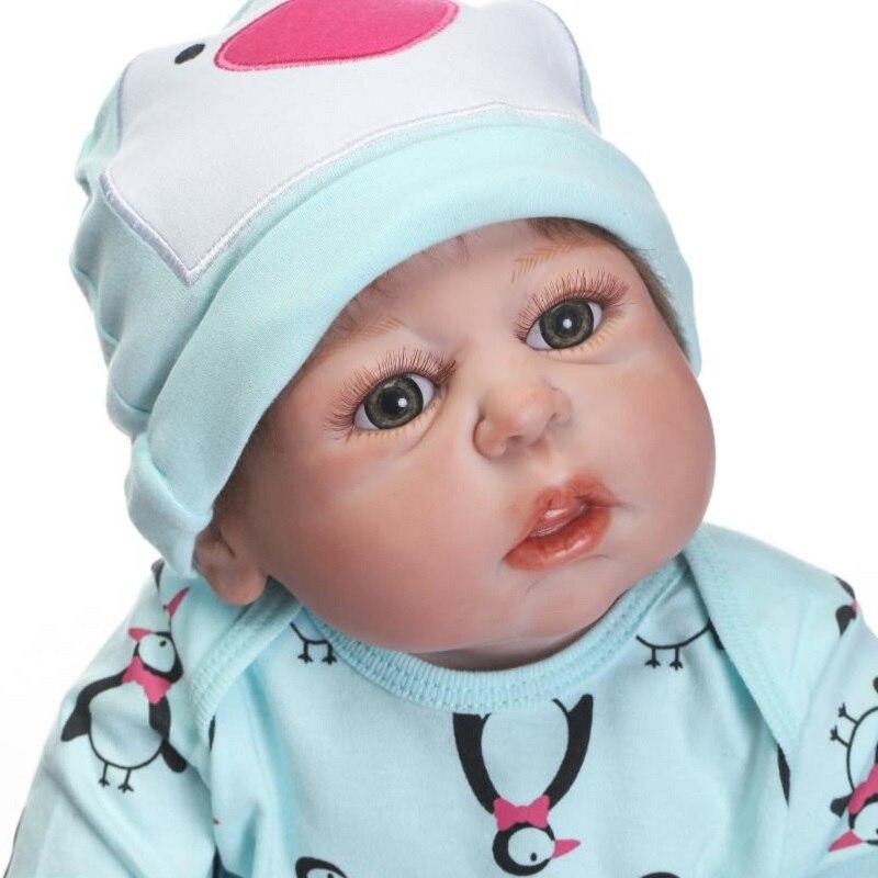 Nicery 22 zoll 55 cm Bebe Reborn Puppe Harte Silikon Junge Mädchen Spielzeug Reborn Baby Puppe Geschenk für Kinder Grün pinguin Jungen Baby Puppe-in Puppen aus Spielzeug und Hobbys bei  Gruppe 2