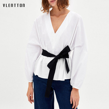 Womens tops and blouses 2018 new Belt Solid Long Sleeve Top Summer Women Office Ladies Work Elegant Blouse new big size ruffle hem womens tops and blouses 2019 black burgundy stretch solid top women short sleeve summer blouse