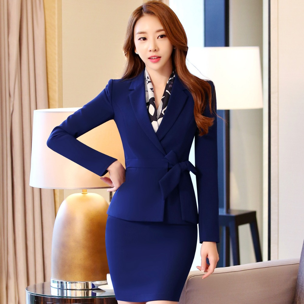Mode Arbeitskleidung Frauen Anzug Mit Langen Ärmeln Blazer + Röcke Interview Geschäfts Frauen Anzug Set Zweiteilige Große Größe S-3xl