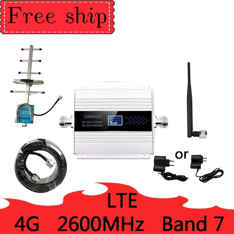 2600mhz LTE 4G Dados 4G rede móvel reforço de sinal de celular impulsionador Repetidor Do Telefone Celular Amplificador Banda 7 antena Yagi
