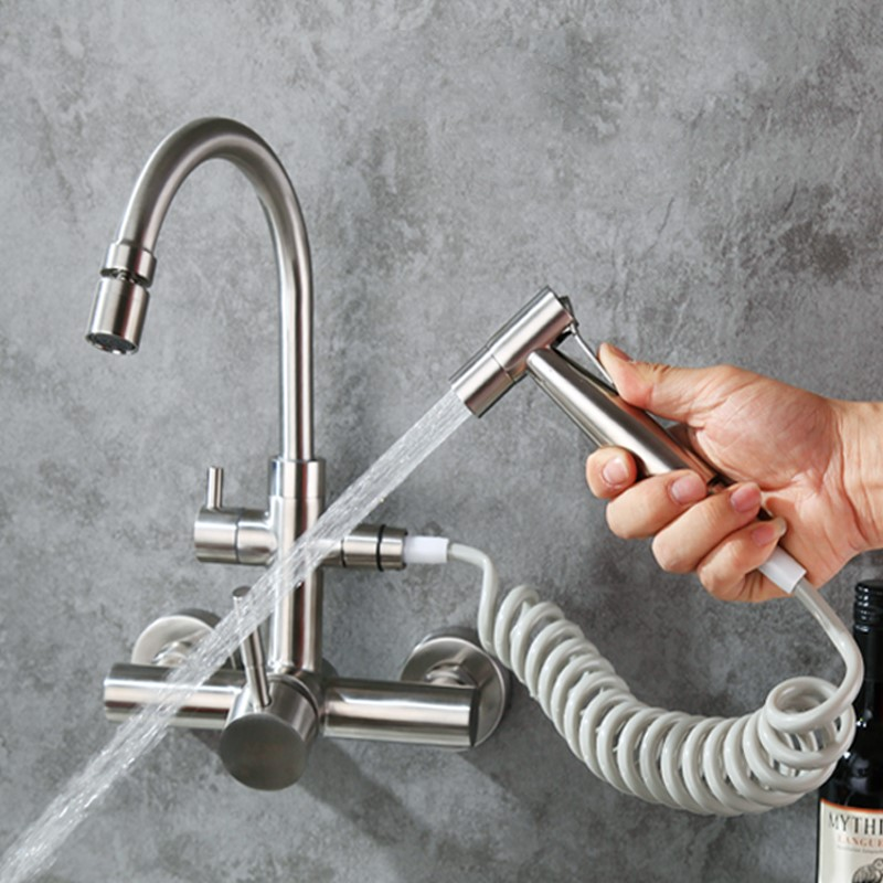 Wall mounted torneira da cozinha de aço inoxidável Escovado com bidé spray cabeça de chuveiro, Rotatable, água Fria e quente, a função Multi-