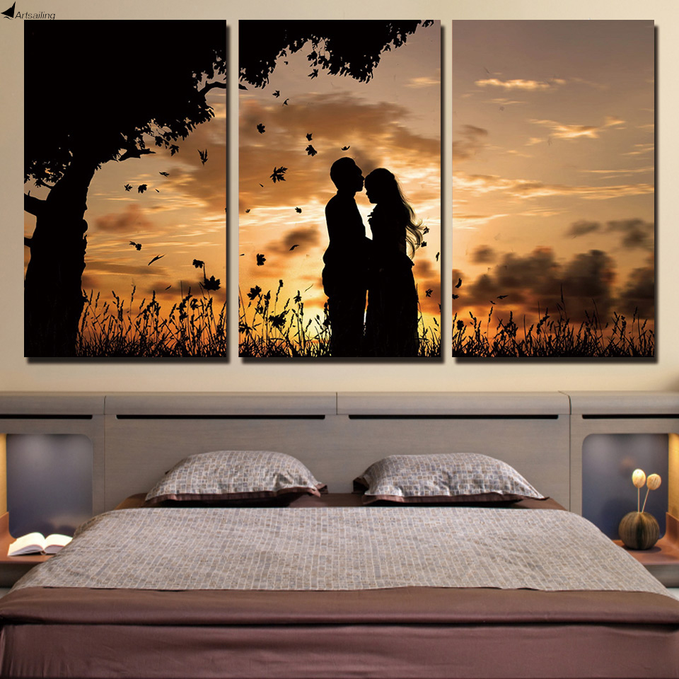 online get cheap couple wall art sunset aliexpress com alibaba hd printed 3 piece canvas art couple sunset shadow painting wall pictures for living room canvas