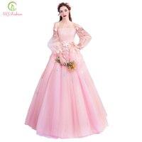 SSYFashion новые милые розовые Длинные рукава платье для выпускного вечера Лодка шеи длиной до пола кружевное платье с цветочным рисунком аппли