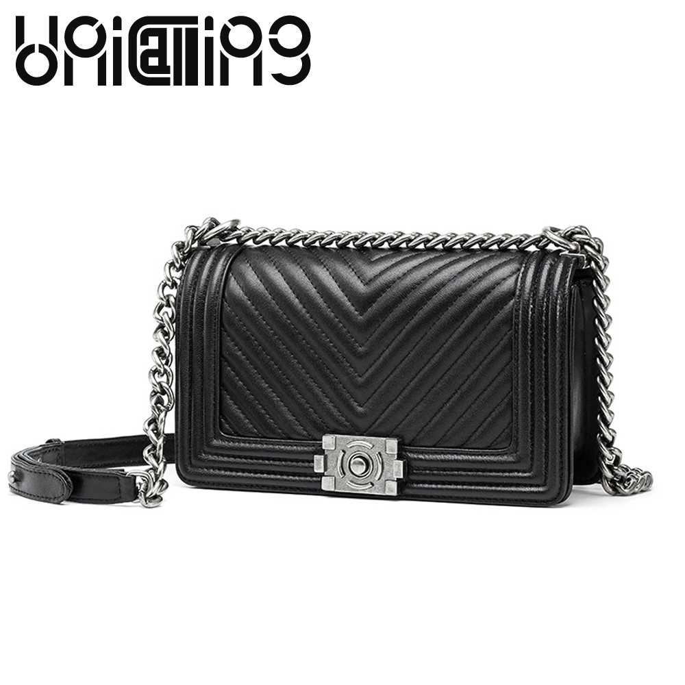 New style lock catch Diamond lattice Chain women messenger bags Fashion All-match shoulder bags soft Genuine Leather women bag women shoulder bag cossbody handbag genuine first layer of cow leather 2017 korean diamond lattice chain women messenger bag
