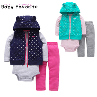 Baby Favorite 3 Pcs/Lot Baby Girls Spring Summer Clothes Sets Coat+ Romper+Pants Baby Boys Outfits Infant Clothes roupa infantil