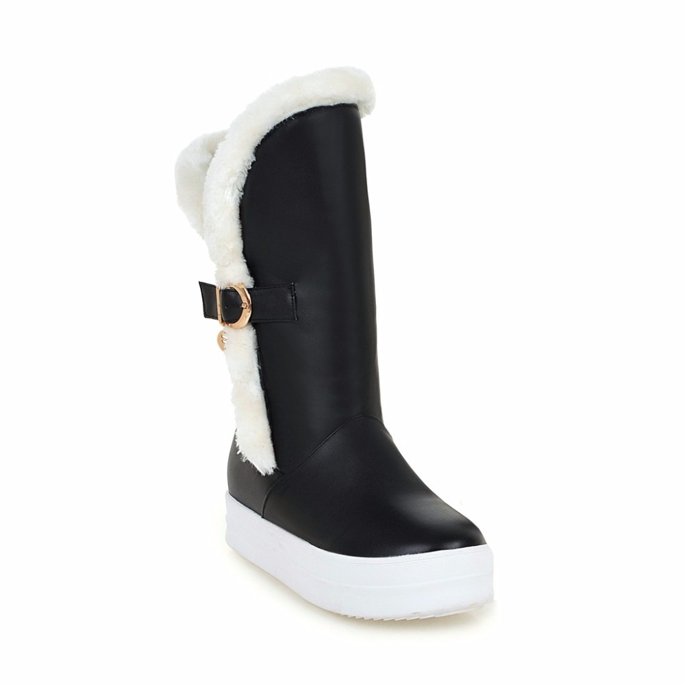 Hot sale Handmade boots Black White Microfiber Snow Boots Slip-on Round Toe Women boots Flat with Mid-calf shoes woman 533-2 cool pu plain round toe men s snow boots sale