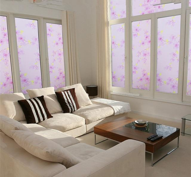 US $8.99 |50x100 cm PVC fiore viola autoadesivi di vetro statica apposto la  cucina ufficio bagno vetrofanie porta scorrevole sole in 50x100 cm PVC ...