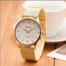 2017years1 Pc Fashion montre femme relogio geneva Watch Women Classic Gold Quartz Stainless Steel Full Wrist