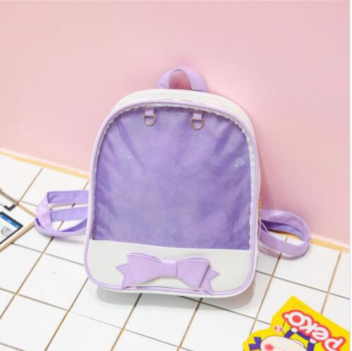 646cfaa054 Women backpack Summer Candy Clear Bow Transparent Backpacks PU Leather Solid  Color Cute Schoolbags for teenage Girls Ita bag-in Backpacks from Luggage  ...