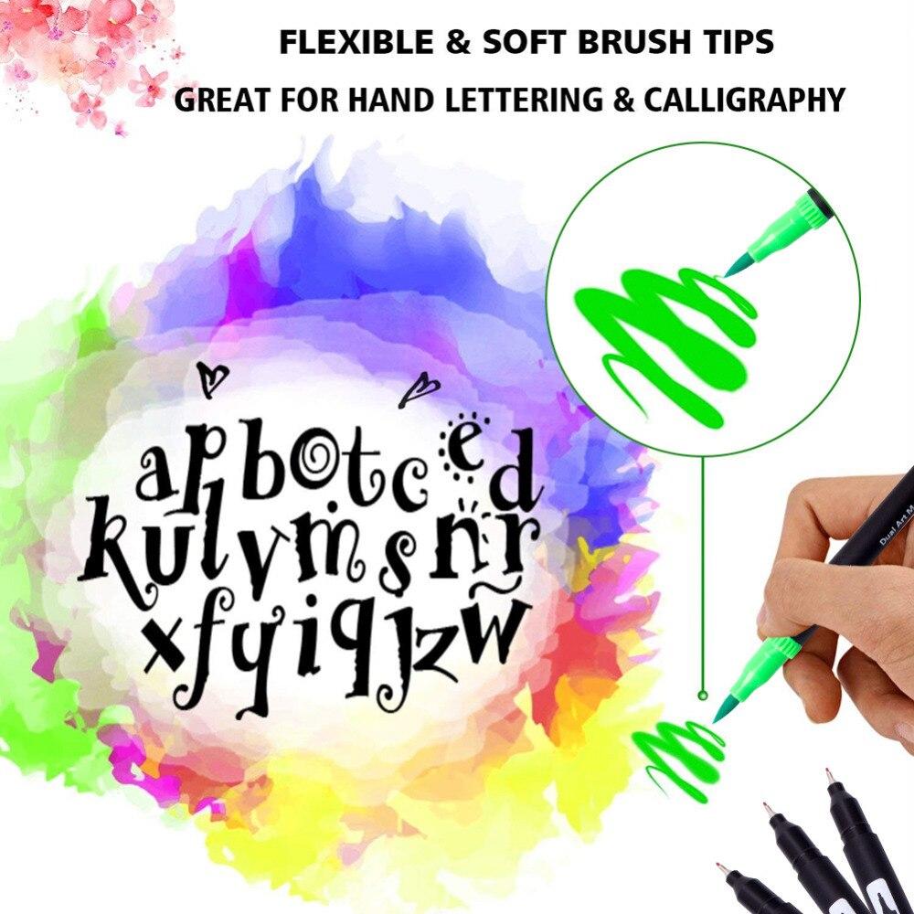 100 couleurs aquarelle pinceau stylo 2mm pinceau pointe et 0.4mm pour pointe Fine double pointe Art marqueurs pour adulte coloriage dessin peinture - 4