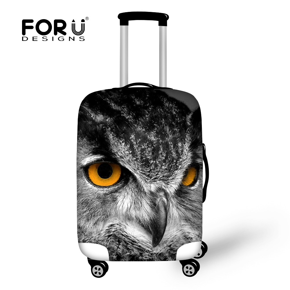 New Thick Elastic Travel Luggage Cover for 18-30 inch Case Waterproof Zipper Suitcase Cover Cool Owl Printed Travel Accessories