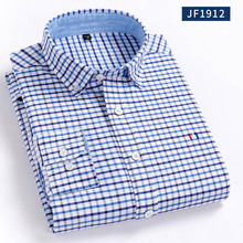 Aoliwen Men oxford 100%cotton blouse shirt solid plaid Flannel Long sleeve Slim fit high quality smart casual