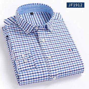Aoliwen mężczyźni oxford 100 bawełniana bluzka koszula jednolity kolor w kwadraty flanela oxford z długim rękawem Slim fit wysokiej jakości 100 bawełna smart casual tanie i dobre opinie CN (pochodzenie) COTTON KOSZULE CODZIENNE Pełne Wykładany kołnierzyk Jednorzędowe REGULAR 1901 Flanelowy Na co dzień