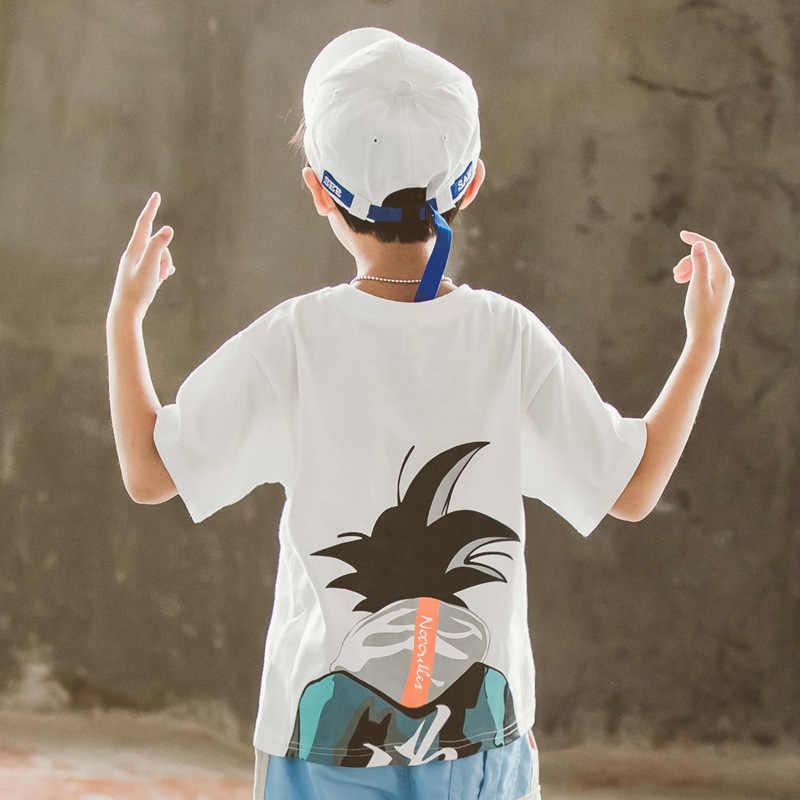 Футболка для мальчиков детская футболка Топ для малышей Лето 2019 г. Goku 3 4 5 6 7 8 От 9 до 14 лет