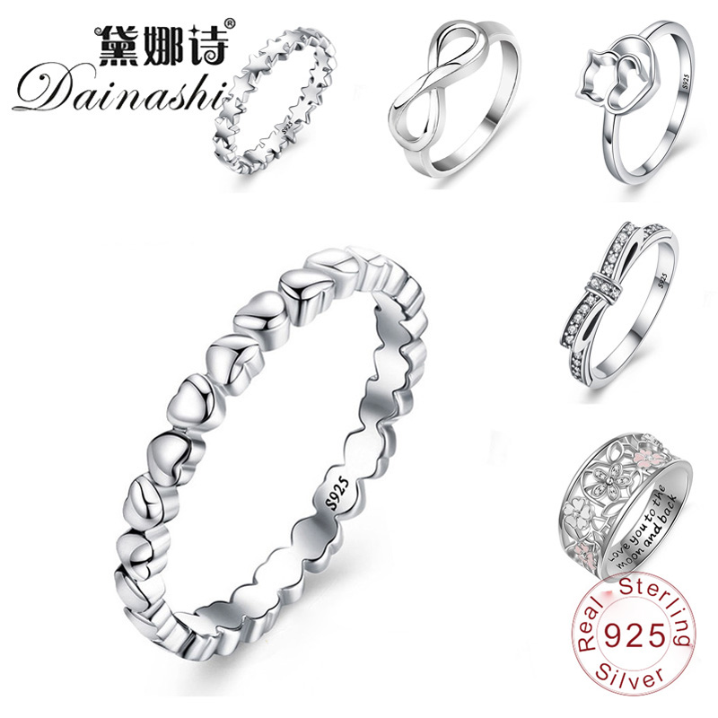 Dainashi 12 Styles Stackable 925 Silver Superior Fine Hollowing Out Rings Party Wedding Finger Rings Jewelry For Fashion Women