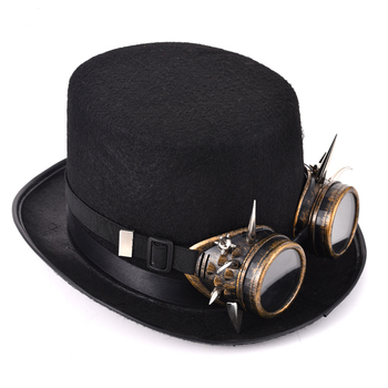 Retro Spikes Goggles Top Hat Punk Steampunk Lolita Cosplay  Rivet Glasses Hat Fedoras Hat Goth