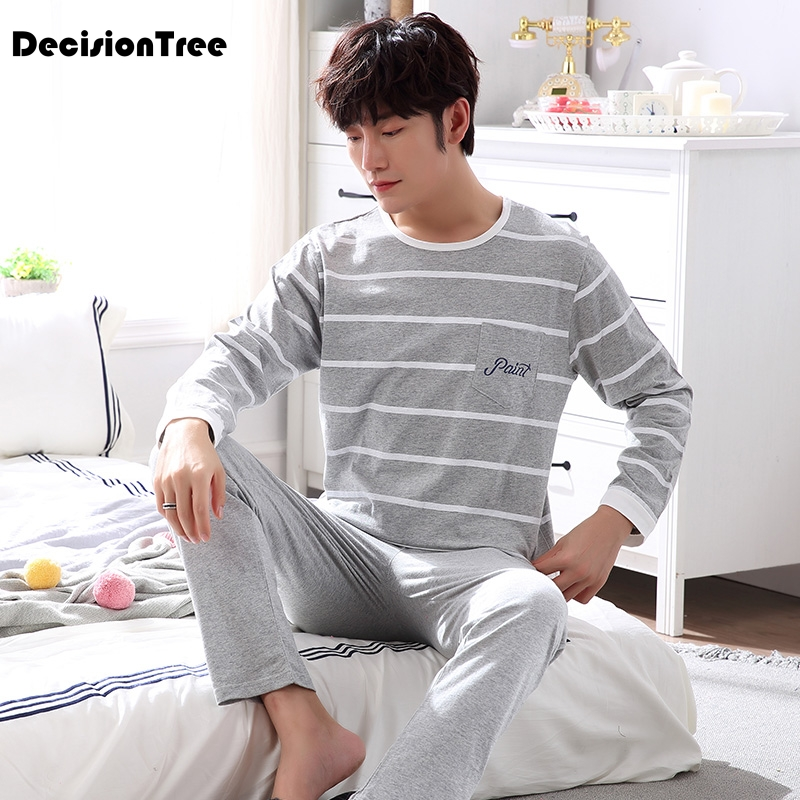 2020 Men Pajama Set Long Sleeve Cotton Man Pyjamas Plus Cartoon Lounge Casual Pajama Plaid Sleepwear Sets