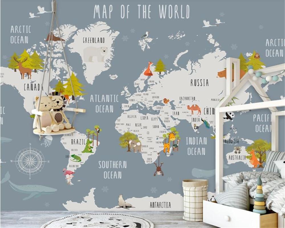 US $9.0 40% OFF|Beibehang Children\'s room interior wallpaper hand drawn  retro cartoon world map Dolphin swan background wall 3d wallpaper murals-in  ...