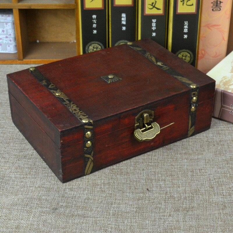 Vintage Boxes Wooden Storage Box Jewelry Box Metal Lock Treasure Chest Case Wooden Desktop Handicraft Sundries Organizer Contain