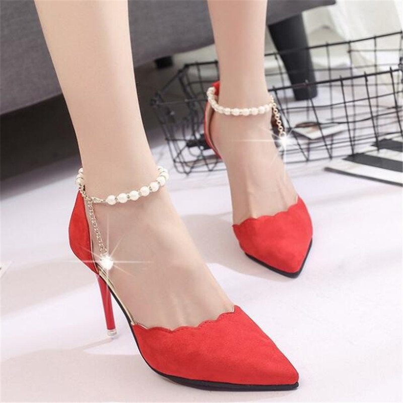 Women Pumps 2018 New Arrival Super Women Shoes High Heel Pointed Hollow Shallow Mouth Wedding Woman Lace Beaded basic pump