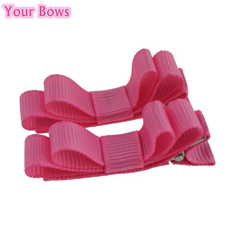 Your Bows 2Pcs/Lot 2Inch Candy Color Solid Bows Hair Clips 12Colors Kids Girls Hair Bows Small Mini Bows Hairpins For Kids 1 pcs 6 inch summer girls kids hair clips pin accessories ribbon bows hair barrettes children hairpins hairclip headdress solid