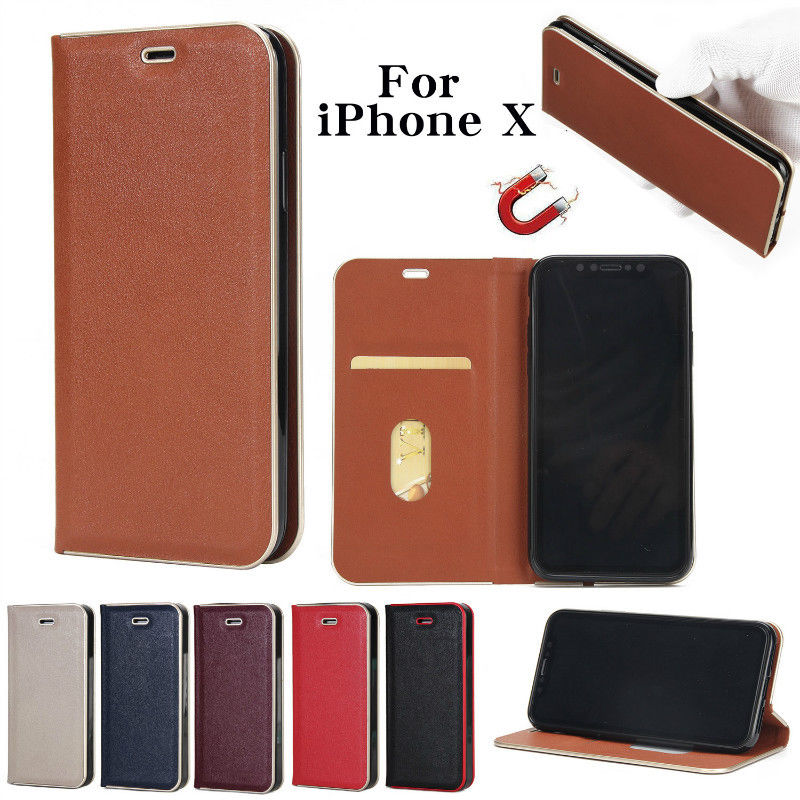 For Samsung Galaxy S8 iPhone 6 7 8 X Leather Flip Wallet Case Cover Stand for iphone X iphone 8 Plus UM
