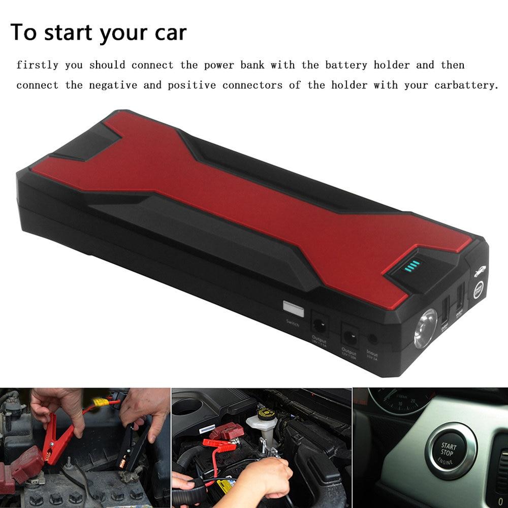 Chargeur portatif de secours automatique multifonctionnel de démarreur de saut de paquet de chargeur de batterie de voiture de 18000mAh pour démarrer la voiture (noir et rouge)
