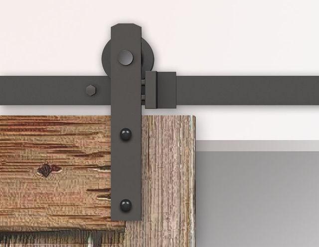 5FT / 6FT / 6.6FT / 8FT Black Rustic Sliding Barn Door Hardware Straight  Roller