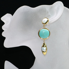 3 Pairs Gold color plated pearls earrings Round stone earrings stone earrings gift for lady 9092