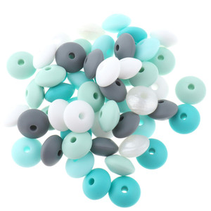 Image 5 - Whosale 12mm Lentils Silicone Round Teething Beads 300PC Abacus Spacing Bead Bpa Free Baby Teether Necklace Pendant Toy DIY