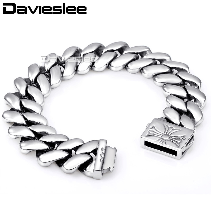 Davieslee Mens Bracelet 316L Stainless Steel Chain Silver Tone Close Curb Link High Quality Punk Wholesale