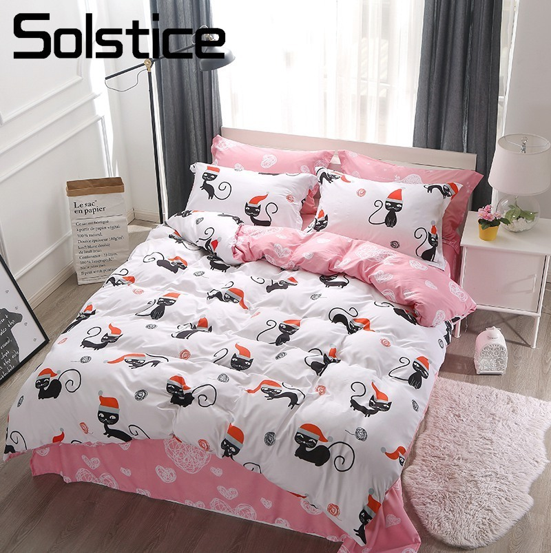 Solstice Home Textile White Pink Cute Cat Kitty Pillowcase Sheet Duvet Cover Sets Girl Adult Teen Bedding Linens Suit King Queen