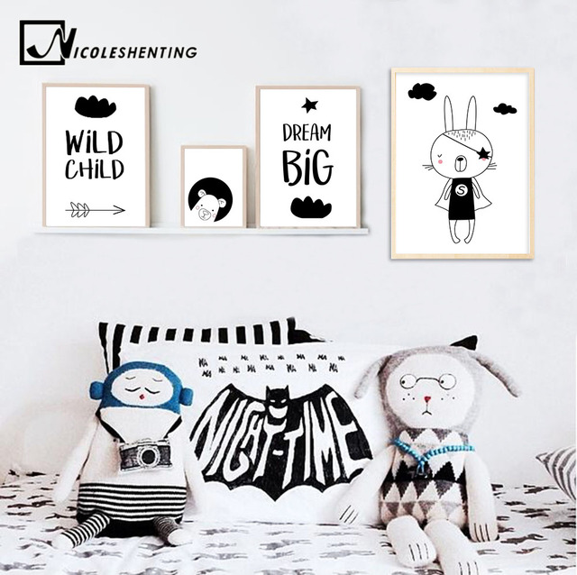 Nicoleshenting cartoon bear wall art canvas poster black white nursery prints nordic style painting wall picture