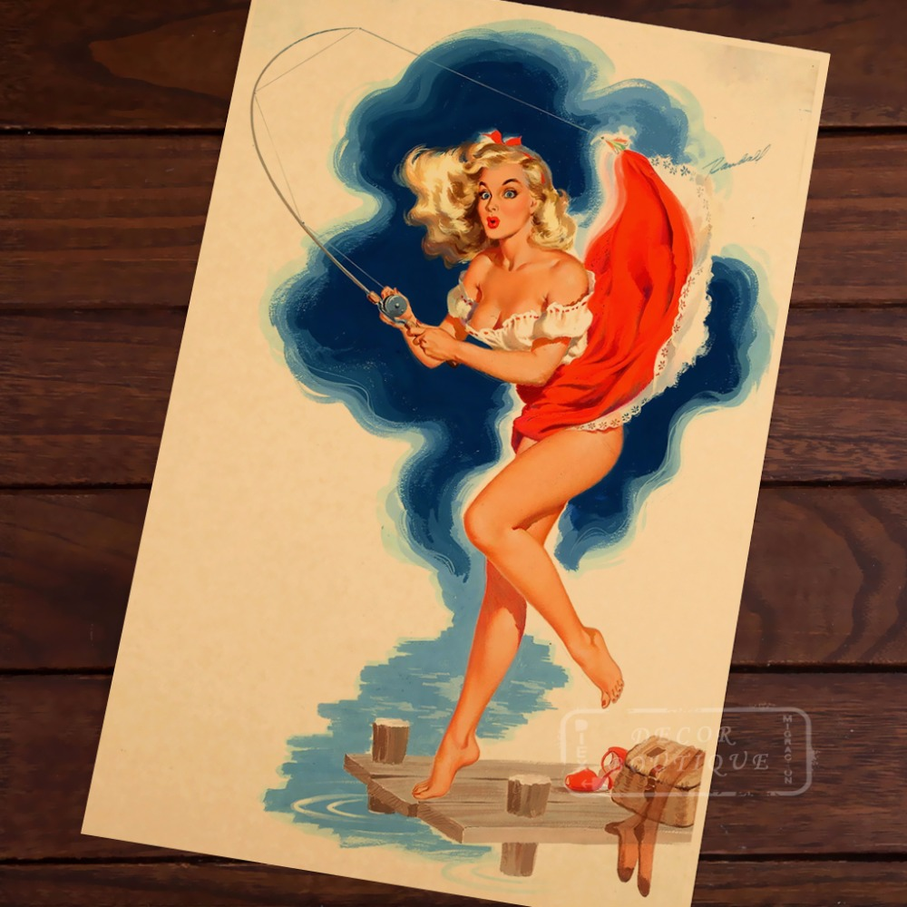 Pop Art Sexy Fishing Vintage Pin Up Girl Poster Classic