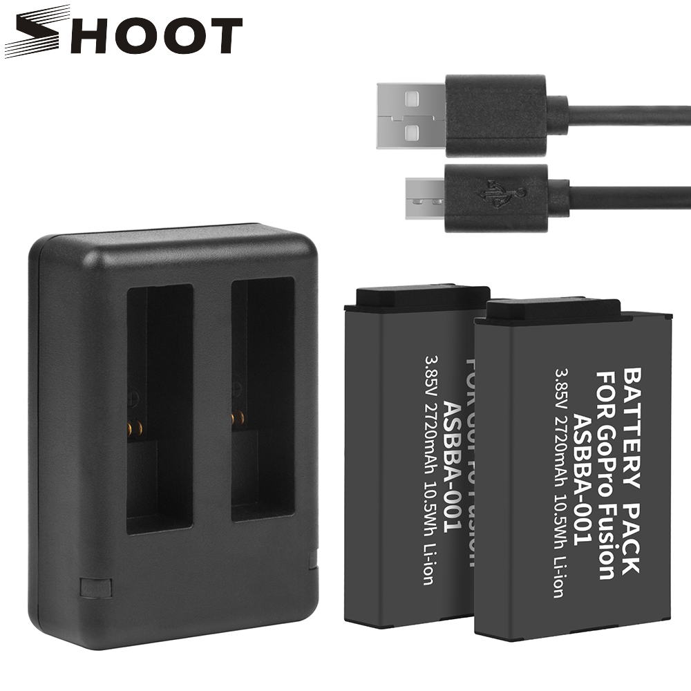 SHOOT 2Pcs ASBBA-001 ASBBA 001 2720mAh Battery For GoPro Fusion With Dual USB Charger For Go Pro Fusion 360 Degree Action Camera
