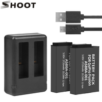 SHOOT 2Pcs ASBBA 001 ASBBA 001 2720mAh Battery for GoPro Fusion with Dual USB Charger for Go Pro Fusion 360 Degree Action Camera