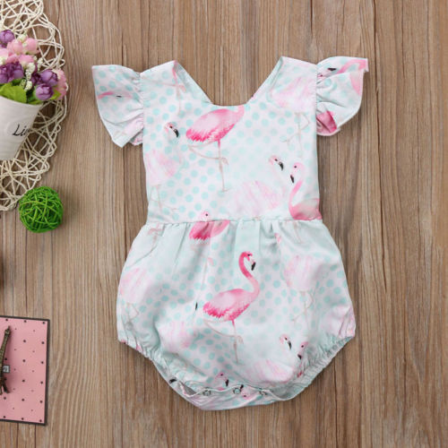 New Baby Girls Infant Flamingo Romper