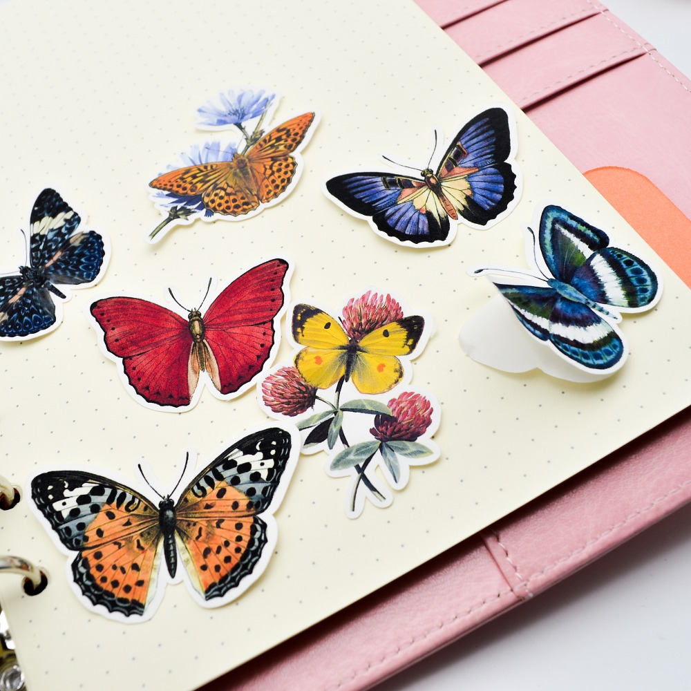 Купить с кэшбэком 31pcs Hand drawing Butterfly thin Paper Stickers Crafts And Scrapbooking Decorative Sticker Lovely DIY Stationery