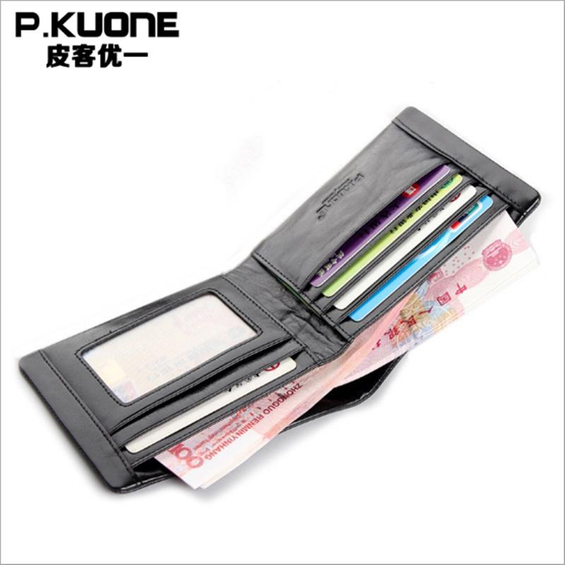 P.KUONE Genuine Leather High Quality Purse Clutch Designer Famous Brand Luxury Fashion Money Bag Men Short Wallet Card Holder bvp luxury brand weave plain top grain cowhide leather designer daily men long wallets purse money organizer j50