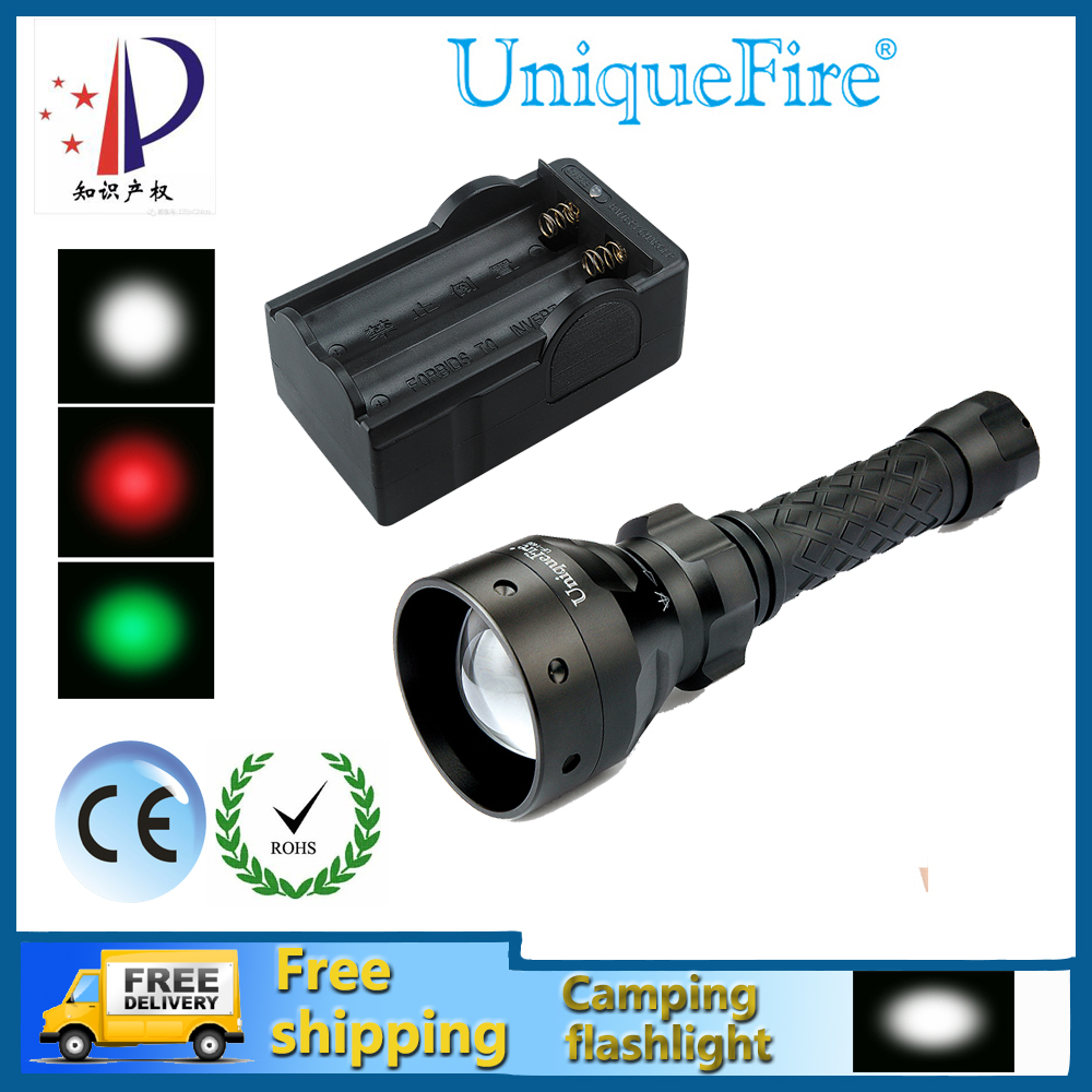 ФОТО 2016 New UniqueFire UF-1406-XP-E  3W Red/Green/White Light Adjustable LED Flashlight Waterproof Black Body + Two Slot Charger