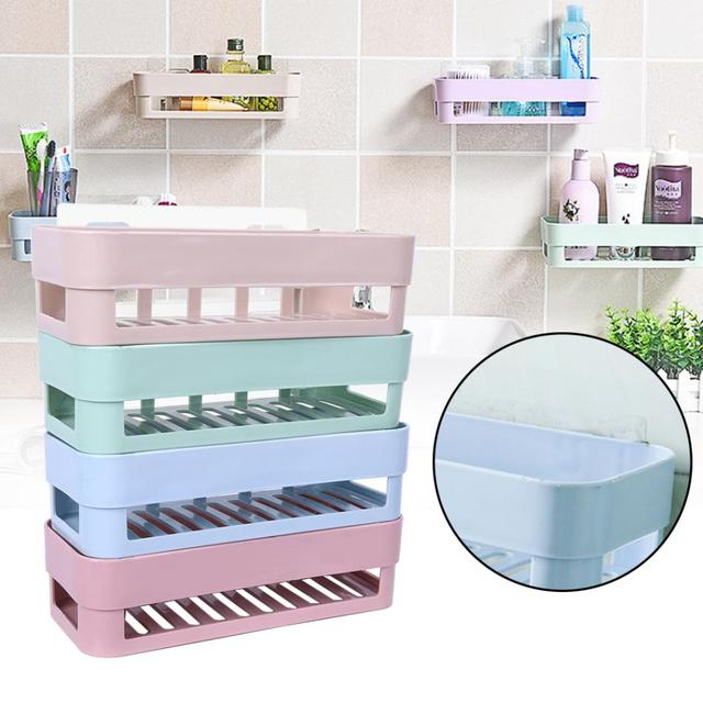 Stick Type Bathroom Kitchen Corner Wall Storage Rack Organizer Shower Shelf Basket Mounted