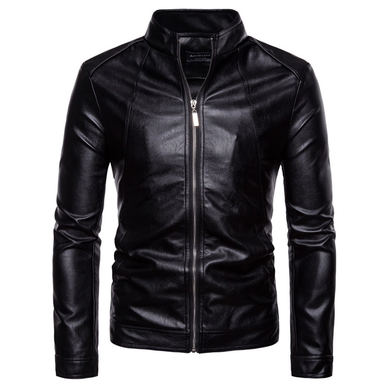 AOWOFS Leather Jacket Men 2018 Autumn Casual Solid Zipper Motorcycle Jackets Stand Collar Black Faux Leather Coat Men Jaket 5XL