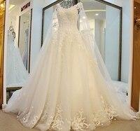 2017 Nouvelle Arrivée Une ligne Dentelle Perles robe de noiva Élégant Robes De Mariée Livraison Gratuite Mariage Robe Long Châle WS36