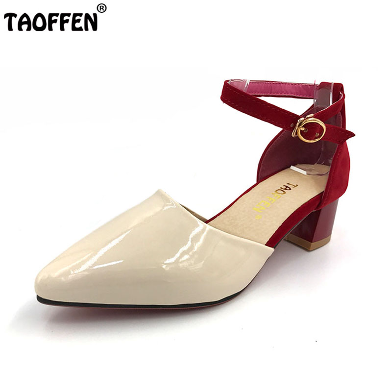 TAOFFEN Women High Heel Sandals Women Pointed Toe Shoes Womens Lady Suede Leather High Quality Fashion Shoes Size 34-43 PA00530 women flat sandals fashion ladies pointed toe flats shoes womens high quality ankle strap shoes leisure shoes size 34 43 pa00290
